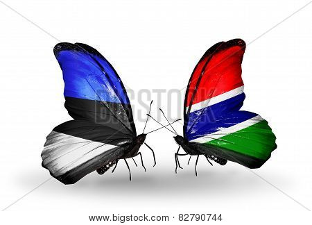 Two Butterflies With Flags On Wings As Symbol Of Relations Estonia And Gambia