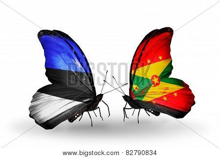 Two Butterflies With Flags On Wings As Symbol Of Relations Estonia And Grenada