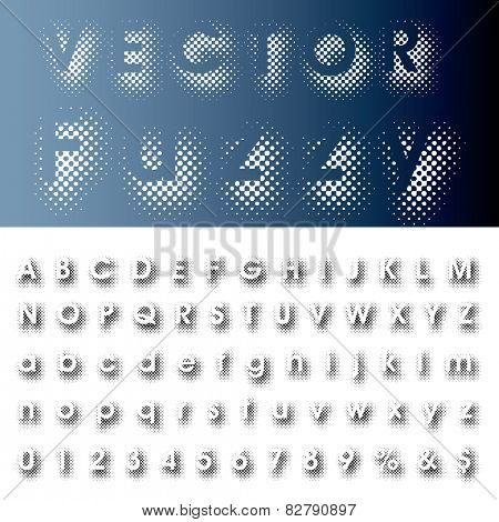 vector halftone dotted shadow raster font