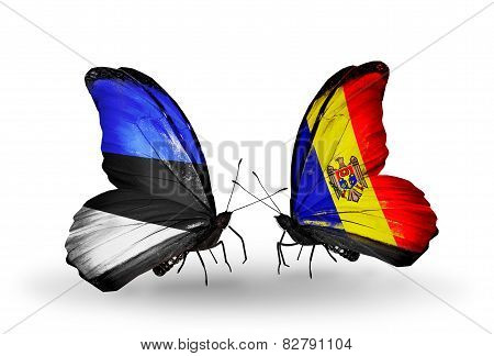 Two Butterflies With Flags On Wings As Symbol Of Relations Estonia And Moldova
