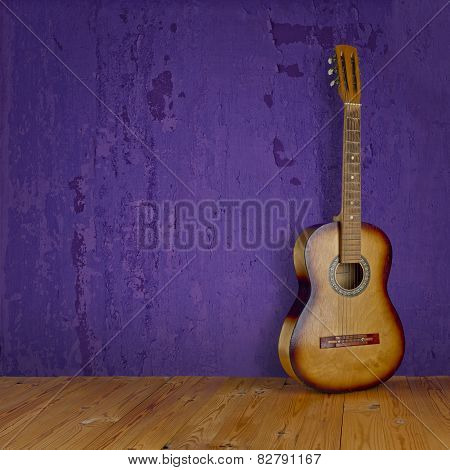 Vintage Guitar On Grunge Background Texture