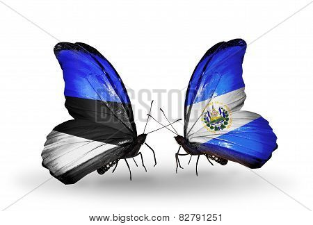 Two Butterflies With Flags On Wings As Symbol Of Relations Estonia And Salvador