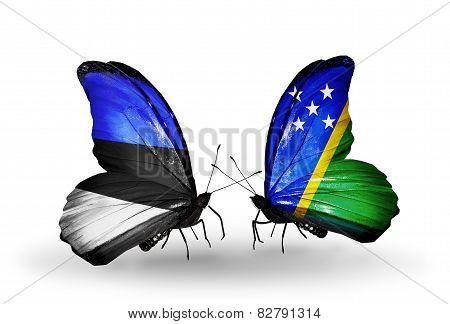 Two Butterflies With Flags On Wings As Symbol Of Relations Estonia And Solomon Islands