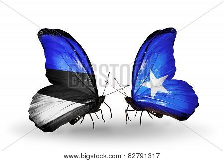 Two Butterflies With Flags On Wings As Symbol Of Relations Estonia And Somalia