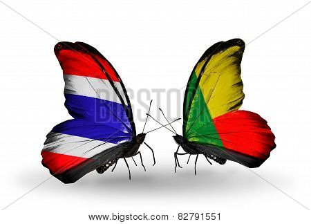 Two Butterflies With Flags On Wings As Symbol Of Relations Thailand And Benin