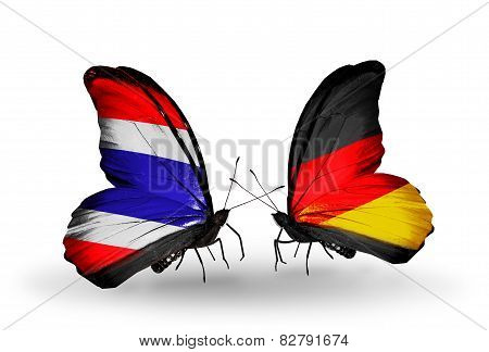 Two Butterflies With Flags On Wings As Symbol Of Relations Thailand And Germany