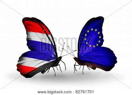 Two Butterflies With Flags On Wings As Symbol Of Relations Thailand And European Union