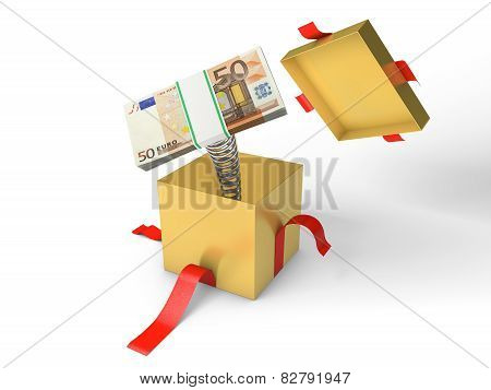 The stack of money jumps out of a gift box on a spring