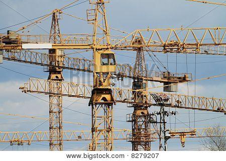 Yellow Jib Cranes