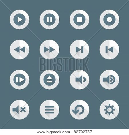 flat style various media player icons set
