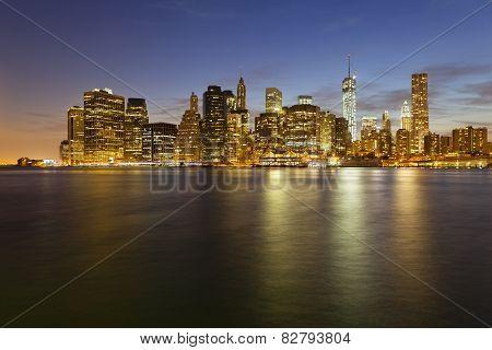 Manhattan Skyline From Brooklyn At Night