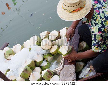 Peeling Fresh Coconut.