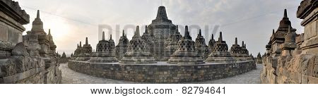 Panorama of Borobudur Temple on Java island