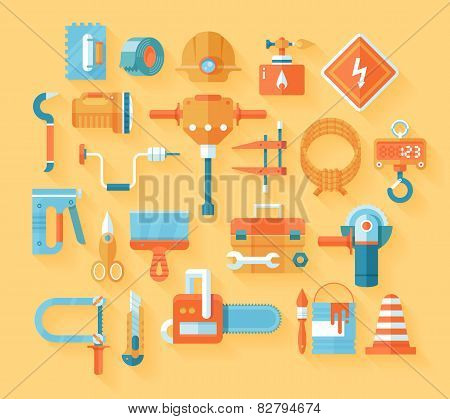 Flat working tools icon set.