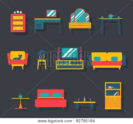 Flat Furniture Icons and Symbols Set for Living Room Vector Illustration
