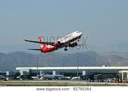 Air Berlin Boeing 737-800 taking off.