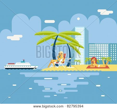 Gigls Sunny Beach Planning Summer Vacation Tourism Journey Symbol Ocean Sea Travel background Flat D