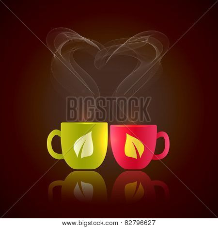 Two cups of hot tea with heart shaped steam