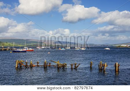 Boats moored in Gourock Bay