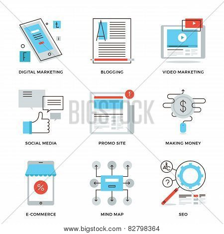 Social Media Marketing Line Icons Set