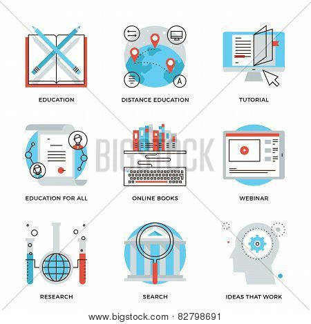 Global Education Elements Line Icons Set