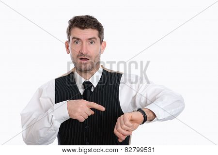 Businessman Is Pointing On His Watch