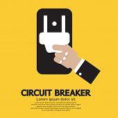 picture of breaker  - Hand Holding Circuit Breaker Vector Illustration - JPG