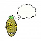 pic of cannibalism  - cartoon tribal mask with thought bubble - JPG