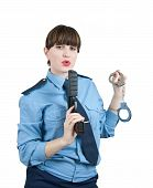 picture of snitch  - woman in uniform with gun and manacles over white - JPG