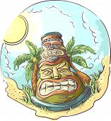 stock photo of tiki  - Illustration of a Tiki Statue Standing in the Middle of a Tropical Beach - JPG