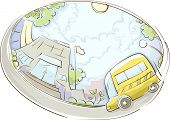 stock photo of school building  - Illustration of a School Bus Parked Near a Building - JPG
