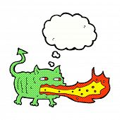 foto of fire-breathing  - cartoon fire breathing imp with thought bubble - JPG