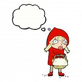 stock photo of little red riding hood  - little red riding hood cartoon with thought bubble - JPG