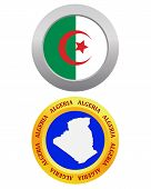 foto of algeria  - button as a symbol ALGERIA flag and map on a white background - JPG