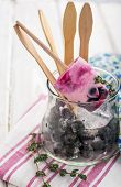 picture of lolli  - Homemade ice cream lolly  with berries - JPG