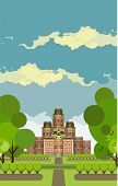 stock photo of manor  - Country manor two storey house on a background of the sky in a flat style - JPG