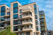 picture of modern building  - Modern apartment buildings in the Hafencity in Hamburg - JPG