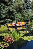 picture of lillies  - Colorful glass balls in a garden lake coverend in lilly pads - JPG