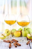 pic of cider apples  - still life with apple cider and fresh apples on wooden table - JPG