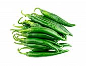 stock photo of chili peppers  - Pile of green chili pepper isolated in studio - JPG