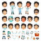 foto of cartoon character  - Set of Cartoon Woman Doctor Character for Your Design or Animation - JPG