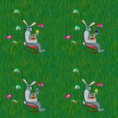stock photo of lawn chair  - Gray rabbits on rocking chair front grass lawn with hidden easter eggs - JPG