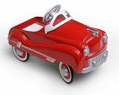 1950's era red toy car poster