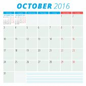 stock photo of october  - Calendar 2016 vector flat design template - JPG