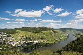 picture of moselle  - Aerial view of beautiful river Moselle in Germany near city Bullay - JPG