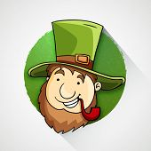 picture of tobacco-pipe  - Happy Leprechaun in hat smocking tobacco pipe on occasion of Happy St - JPG