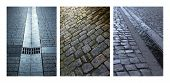 image of gutter  - Collage of cobblestone streets and gutters in the city - JPG