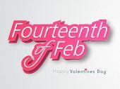stock photo of corazon  - Stylish glossy pink text Fourteenth of Feb indicated Happy Valentines Day celebration on shiny grey background - JPG