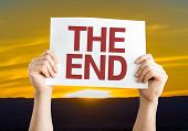 stock photo of day judgement  - The End card with sunset background - JPG