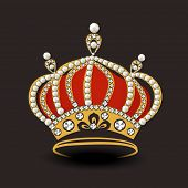 picture of pageant  - Stylish crown decorated with pearl and diamond on dark brown background - JPG